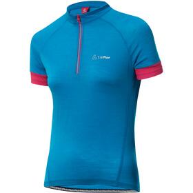 Löffler Merino Half-Zip Fahrrad Trikot Damen sea blue